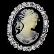 * Antique Silver Cameo Brooch with Black Background and Rhinestone Border 147