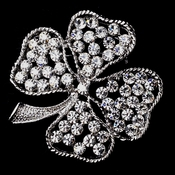 Antique Silver Shamrock with Rhinestones Brooch 150