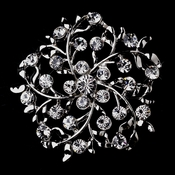 Antique Silver Leaves with Rhinestones Brooch 155