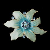 * Gold Blue Flower Brooch 163
