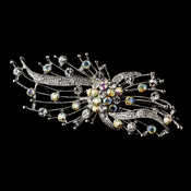 Antique Silver Clear and AB Rhinestone Brooch 169