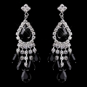 Silver Black Chandelier Earrings 24792