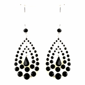Silver Black Austrian Crystal Earrings 24802