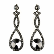 Black Diamond Double Loop Dangling  Antique Earrings 8706