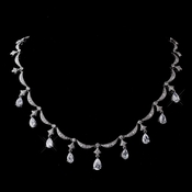 Vintage Silver Clear Teardrop Cubic Zirconia  Necklace N 5113