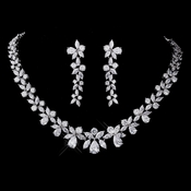 Silver CZ Necklace & Earring Set 1289