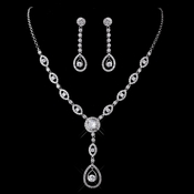 Silver Clear CZ Necklace & Earring Set 1295