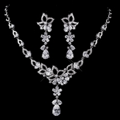 Silver Clear CZ Necklace & Earring Set 1296