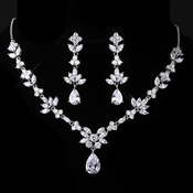 Silver Clear CZ Necklace & Earring Set 1287
