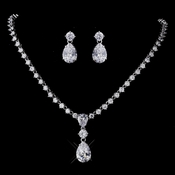 Silver Clear CZ Necklace & Earring Set 1308