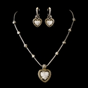 Silver Clear Heart Set w/ Gold Trim Necklace Earring Set 7995