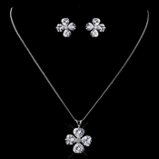 Silver Clear CZ Clover Necklace & Earring Set 8594