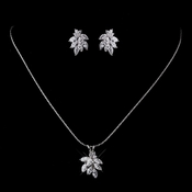 Silver Clear CZ Necklace & Earring Set 8604