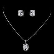 Silver Clear CZ Necklace & Earring Set 8605