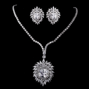 Silver Clear CZ Necklace & Earring Set 8615