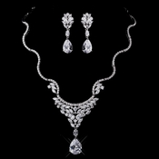 Silver Clear CZ Necklace & Earring Set 8621