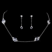 Silver Clear CZ Necklace & Earring Set 8645