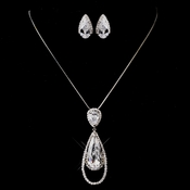 Silver Clear CZ Necklace & Earring Set 8719