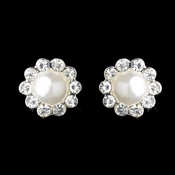 Silver White Pearl & Round Rhinestone Flower Stud Earrings 2070