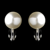 Silver White Pearl Stud Clipped Earrings 6052