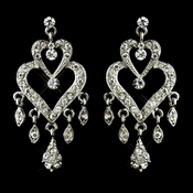Antique Silver Clear Crystal Rhinestone Chandelier Bridal Earrings 8689
