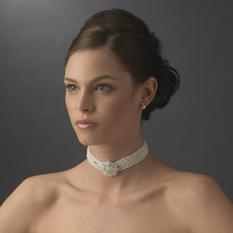 Bridal 5 Row Choker Pearl Necklace N 600 Silver White Or Ivory Discontinued