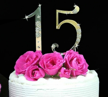 French Flower ~ Small Sweet 15 & Sweet 16 Cake Topper Set