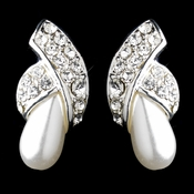 Silver White Pearl & Round Rhinestone Stud Earrings 2073