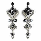 Silver Black Multi Crystal Chandelier Earring Set 1031
