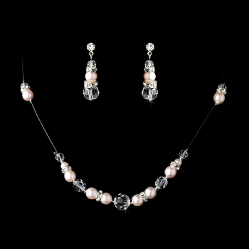 * Necklace Earring Set 230 Pink Clear