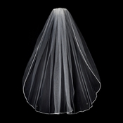 "VR 1E Diamond White - Rattail Satin Corded Edge Veil, 1 Layer Elbow Length Veil (30"" long)"