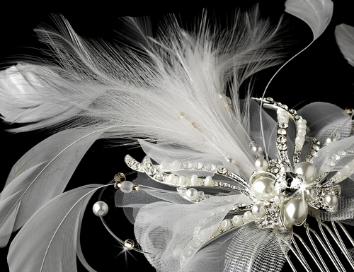 Vintage Feather Bridal Hair Accent Comb 7812 or Clip/Brooch 7812