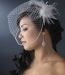 * Light Ivory Bridal Feather Hair Fascinator Clip 440 wit Brooch Pin