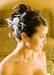 Bridal Feather Hair Piece Accent with Crystals Comb 7025 (White or Ivory)