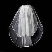 "VR S Diamond White - Rattail Satin Corded Edge Veil, 2 Layers Shoulder Length Veil (20"" x 25"" long)"