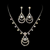 * Silver Necklace Earring Set NE 10086 Silver AB