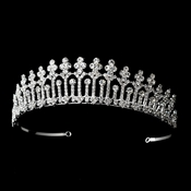 * Magnificient Rhinestone Covered Pillar Tiara Headpiece in Silver 8315