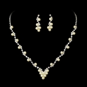 * Necklace Earring Set 19956 Silver Ivory