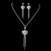 * Necklace Earring Set 8299 Silver Clear