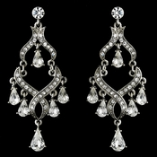 Rhinestone Encrusted Silver Plating Chandelier Earrings - E 1034