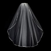 "VS 1E White - 1/8"" Satin Ribbon Edge Veil, 1 Layer Elbow Length Veil (30"")"