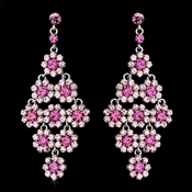 Glamorous Silver & Pink Chandelier Earrings E 939
