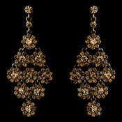 Glamorous Gold & Brown Chandelier Earrings E 939