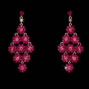 Glamorous Silver & Fuchsia Chandelier Earrings E 939