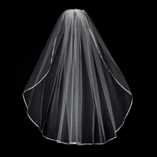 "VS 1E Diamond White - 1/8"" Satin Ribbon Edge Veil, 1 Layer Elbow Length Veil (30"")"