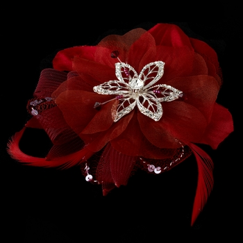 * Red Bridal Feather Fascinator Clip Brooch 8106