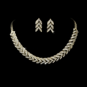 Gold Clear Rhinestone Choker Necklace & Earring Set NE 373