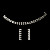 Glistening 2 Row Silver Clear Rhinestone Choker Necklace & Earring Set 10024
