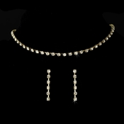 Gold Single Row Crystal Choker Jewelry Set NE 10022