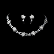 * Silver White Pearl Crystal Choker Jewelry Set NE 145